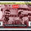 Postage stamp Yemen 1969 aboard Ship Iwo Jima, Apollo XIII — Stock Photo