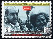 Poštovní známka jemen 1969 prezident a paní nixon, apollo xiii — Stock fotografie