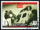 邮票也门 1969年太平洋会合,阿波罗十三 — 图库照片