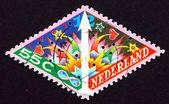 почтовая марка нидерландов 1989 фейерверки, рождество — Стоковое фото