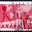 Stock Photo: Postage stamp Canad1963 Export Crate and Mercator Map