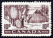 Postage stamp Canada 1950 Indians Drying Skins on Stretchers — Stock Photo