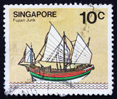 Postage stamp Singapore 1980 Fujian Junk, Sailing Ship — Stock Photo
