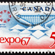 Postage stamp Canada 1967 Emblem and Canadian Pavilion - Stock Photo