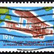 Postage stamp Canada 1969 Vickers Vimy, 1919, Map of Atlantic — Stock Photo