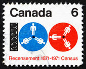 Postage stamp Canada 1971 Computer Tape and Reels — Stock Photo