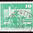 Postage stamp GDR 1973 Neptune Fountain, City Hall Street, Berli - Stock Photo