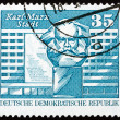 Postage stamp GDR 1973 Marx Monument, Karl-Marx-Stadt, Chemnitz - Stock Photo