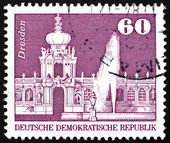 Briefmarke ddr 1974 zwinger palast, dresden — Stockfoto