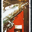 图库照片: Postage stamp Umm al-Quwain 1972 Sputnik 3 Spacecraft