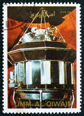 Postage stamp Umm al-Quwain 1972 Luna 3 Spacecraft — Stock Photo