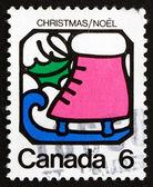 Briefmarke kanada 1973 schlittschuh, weihnachten — Stockfoto