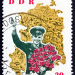 Постер, плакат: Postage stamp GDR 1963 Yuri Gagarin and map of DDR