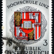 Postage stamp Austria 1966 Coat of Arms of Linz University - Stock Photo