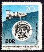 Postage stamp GDR 1963 Space Flight of Valeri Bykovski — Stock Photo