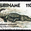 Postage stamp Suriname 1988 Mississippi Alligator, animal - Stock Photo