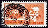 オランダの切手ブラジル 1961年地図 — ストック写真