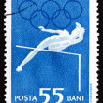 Postage stamp Romania 1960 High Jump, Olympic sports, Roma 60 — Stock Photo