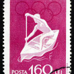 Postage stamp Romania 1960 Canoeing, Olympic sports, Roma 60 — Stock Photo