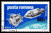 Postage stamp Romania 1969 Apollo 9 and Lunar Landing Module — Stock Photo