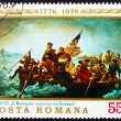 Postage stamp Romania 1976 Washington Crossing the Delaware - Stock Photo