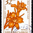 Postage stamp Bulgaria 1986 Goldband Lily, Lilium Auratum, Flowe — Stock Photo