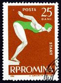 Estampilla nadador de mujer de rumania 1963 inicio — Foto de Stock