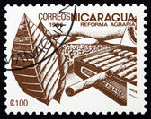 Postage stamp Nicaragua 1986 Tobacco, Agrarian Reform — Stock Photo
