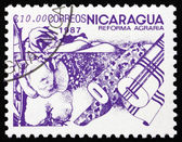Postage stamp Nicaragua 1986 Cotton, Agrarian Reform — Stock Photo