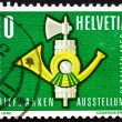 Postage stamp Switzerland 1959 Fasces and Post Horn — Stock Photo #18651775