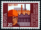 Postage stamp Switzerland 1977 Worker and Factories — Stock fotografie