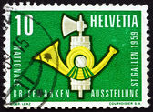 Postage stamp Switzerland 1959 Fasces and Post Horn — Stock Photo