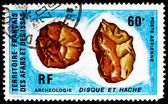 Postage stamp Afars and Issas 1973 Pre-historic Flint Tool, Arch — Stock Photo