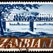 Postage stamp Zambia 1968 Railroad Bridge, Kafue River - Stockfoto