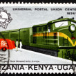 Postage stamp Tanzania, Kenya, Uganda 1974 Mail Train and Truck - Stockfoto