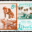 Postage stamp Liberia 1957 Teacher and Pupil - Stock Photo