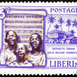 Stock Photo: Postage stamp Liberia 1957 Singing Boys and National Anthem