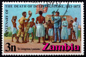 Postage stamp Zambia 1973 Stanley and Livingstone at Ujiji — Stock Photo