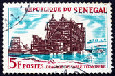 Postage stamp Senegal 1964 Dredging of Titanium-bearing Sand — Stock Photo