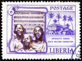 Postage stamp Liberia 1957 Singing Boys and National Anthem — Stock Photo