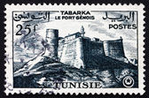 Postage stamp Tunisia 1954 Genoese Fort, Tabarka — Stock Photo