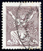 Postage stamp Czechoslovakia 1920 Breaking Chains to Freedom — Stock Photo