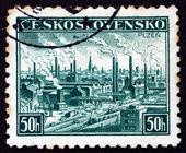 Postage stamp Czechoslovakia 1938 View of Pilsen, Plzen — Foto de Stock