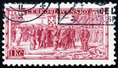 Postage stamp Czechoslovakia 1934 Legion Receiving Battle Flag — Stock Photo
