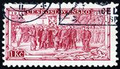 Postage stamp Czechoslovakia 1934 Legion Receiving Battle Flag — Stock Photo