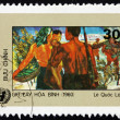 Postage stamp Vietnam 1984 Woman and Soldiers, Painting — Stock Photo