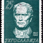 Postage stamp Yugoslavia 1962 Marshal Tito by Augustincic — Stock Photo #19496875