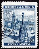 Piazza della città cecoslovacchia 1939 del francobollo, olomouc — Foto Stock