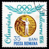 Postage stamp Romania 1964 Rapid Silhouette Pistol, Melbourne 19 — Stock Photo