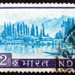 Postage stamp India 1967 View of Dal Lake, Kashmir - Stock Photo